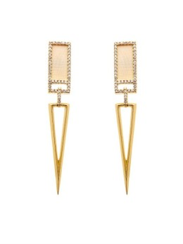 MONIQUE PÉAN uses environmentally responsible procedures to source all of its materials, and uses 18 carat recycled gold and platinum, conflict and devastation free precious stones, diamonds and fossils, which are gathered with no mining involved. (Diamond, gold and fossilized mammoth earrings)