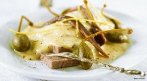 Roasted veal served with capers and a rich and creamy tuna