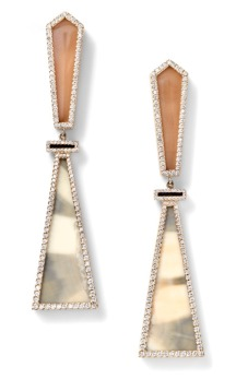 Each piece of Monique Péan's jewelry is handmade by skilled craftsmen in New York and around the globe. (Diamond, Citrine and gold mammoth earrings.)