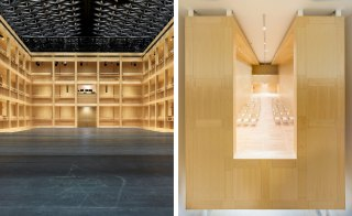 An internal shot of the theatre shows the sheer-boarded timber walls which provide a beautiful simplicity to the space