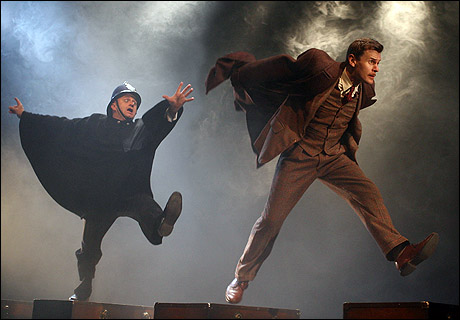 Cliff Saunders and Charles Edwards in Alfred HitchcockÕs THE 39 STEPS, now playing at the Cort Theatre (138 West 48th Street). © Joan Marcus