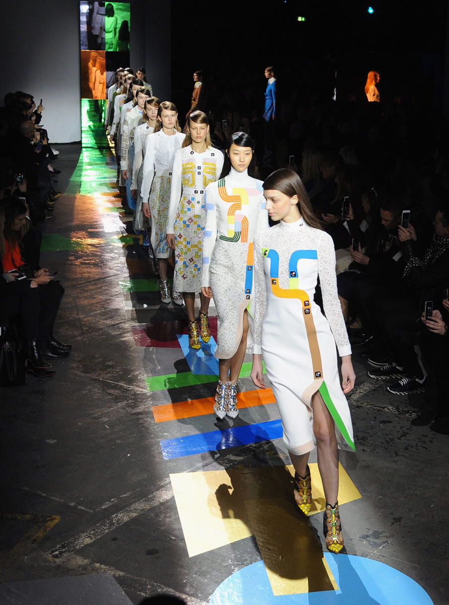 LONDON, ENGLAND - FEBRUARY 23: Models walk the runway at the Peter Pilotto show during London Fashion Week Fall/Winter 2015/16 at The Old Sorting Office on February 23, 2015 in London, England. (Photo by Eamonn M. McCormack/Getty Images)