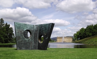 Respected art historian and commentator Tim Marlow has guest curated the tenth edition of Sotheby's annual outdoor sculpture installation 'Beyond Limits'. Pictured: Three Obliques (Walk In), by Barbara Hepworth, 1969