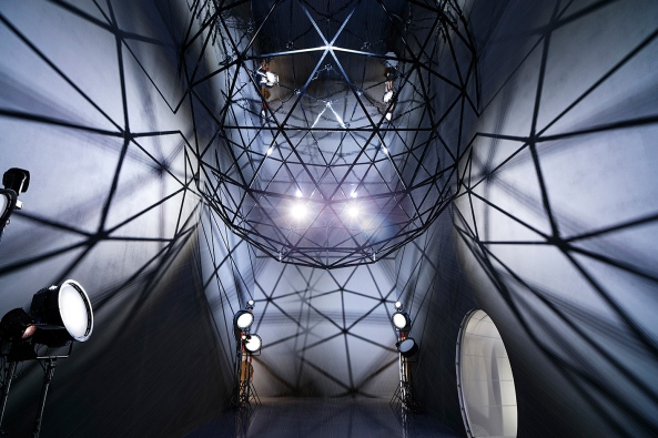 The first room features a geodesic dome, it hangs suspended below a mirrored ceiling