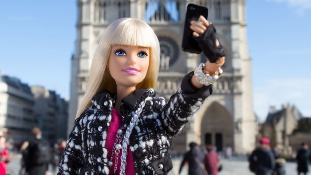 Barbi selfie outside the Duomo in Milan. On exhibition at MUDEC