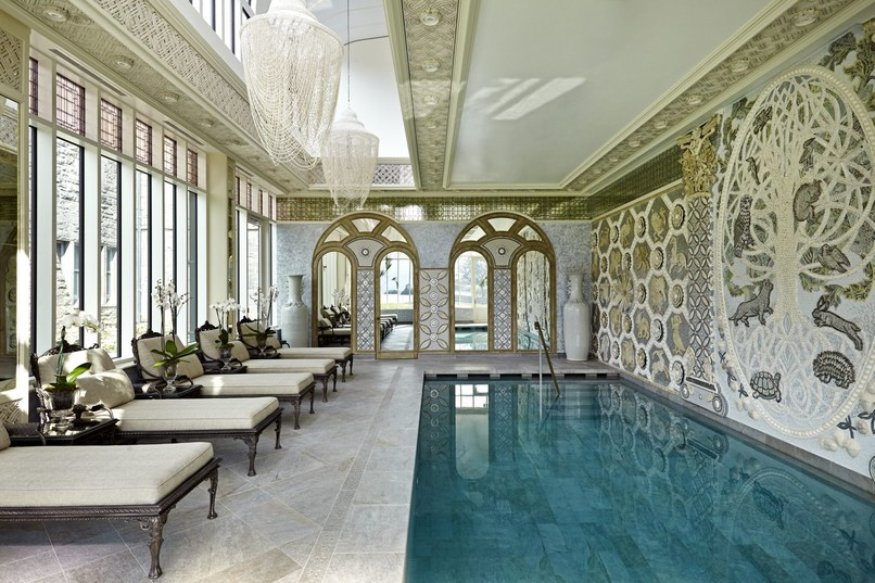 The spa's indoor pool, which features a mural by ceramic artist Jane du Rand.