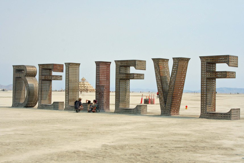BELIEVE sculpture by Laura Kimpton at Burning Man
