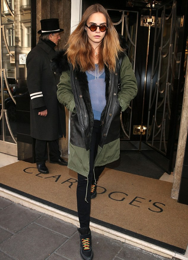 Cara Delevigne in a Mr & Mrs Italy parka (2015)