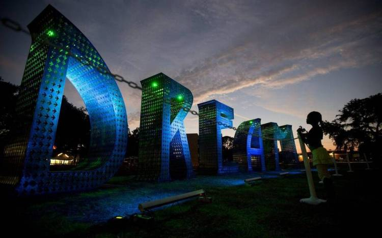 Laura Kimptin's DREAM sculpture is programmed to light up from within in various colors controlled by LED lights. They can also be lit by external, up lights, which can also alter in color