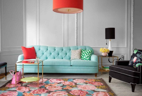 Kate Spade Home Collection: Drake tufted sofa, Norwich chair, Afton side table. Photo: Courtesy of Kate Spade
