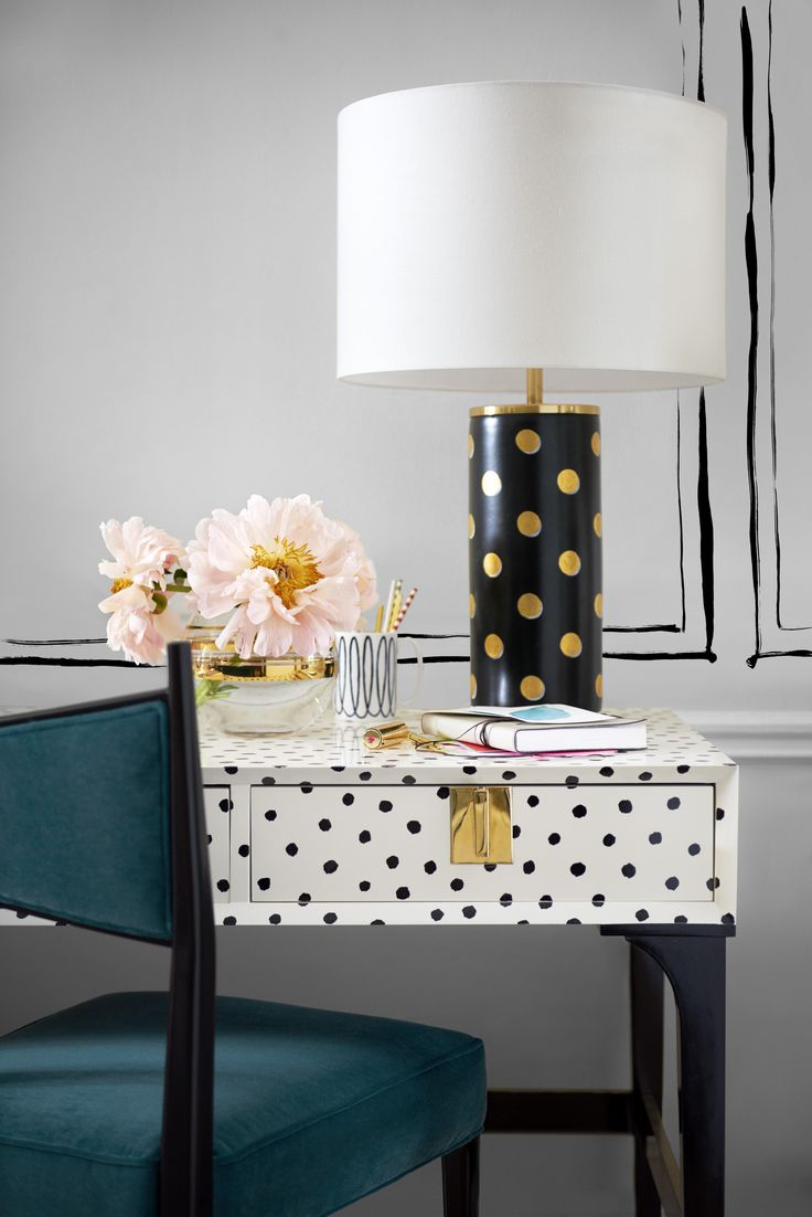 Kate Spade Home Collection: Downing desk, Pavilion dot cylinder table lamp. Photo: Courtesy of Kate Spade