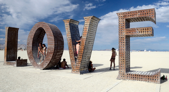 LOVE sculpture by Laura Kimpton at Burning Man