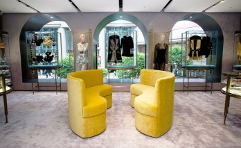 All the store's furnishings and display units – understated steel frames atop a glass base or transparent cabinets – were designed by Baciocchi who has previously created interiors for Prada and Miu Miu