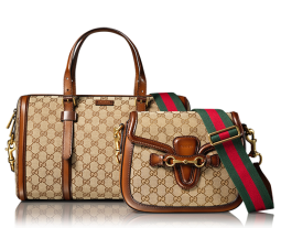 The 'Double Hero' Gucci logo handbag and shoulder bag with leather trim and adjustable strap