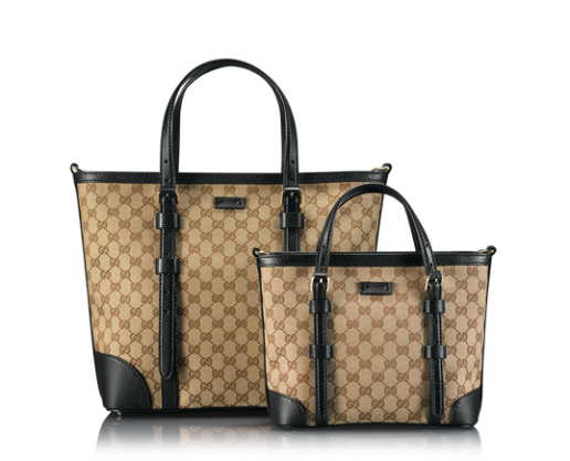 The 'Double Hero' Gucci logo tote with leather trim
