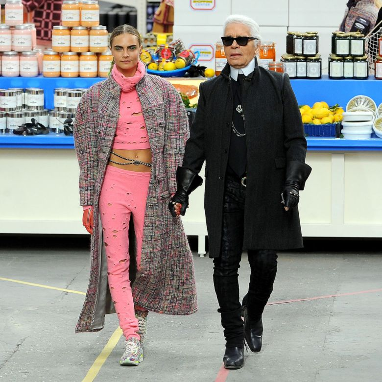 Karl Lagerfeld and Cara Delevigne at the Chanel show in Paris