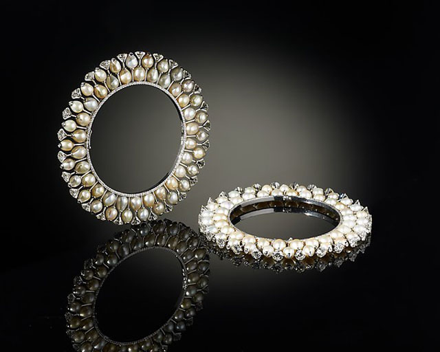 Pair of Bangles (kada) by Bhagat, 2012 Platinum, set with diamonds and pearls; Each: Diam. 3 3/8 in. (8.6 cm)