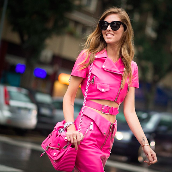 Chiara Ferragni, blogger of The Blonde Salad, in the Spring s015 Moschino Pink Barbie collection