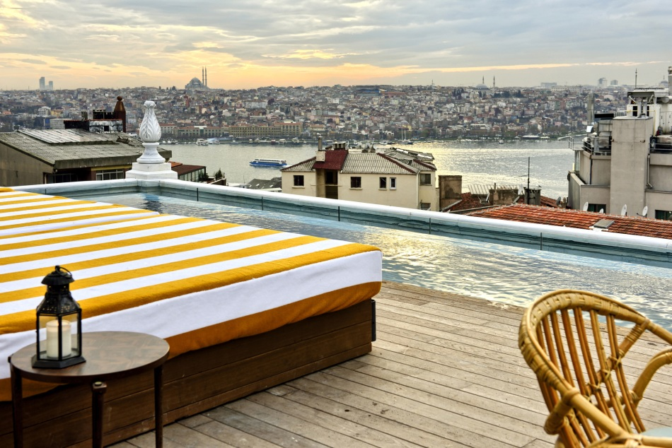 SoHo House Istanbul rooftop daytime view over the city and the Golden Horn.