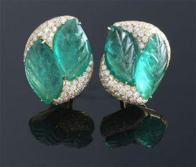 David Webb carved Emerald and Diamond earrings
