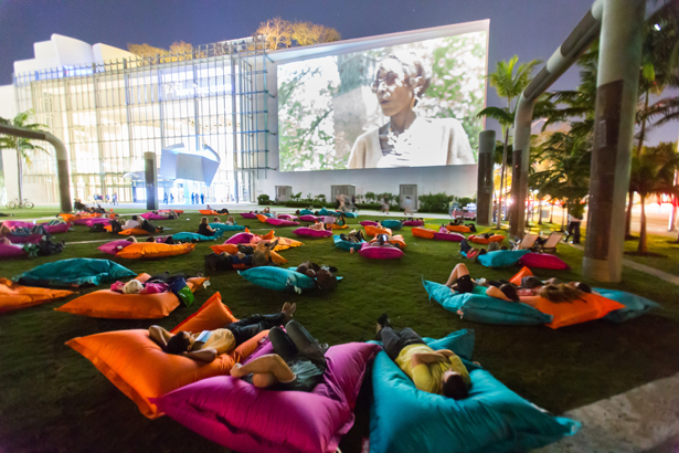 Art Basel in Miami Beach Film Sector series shown outdoors at SoundScape Park, on a 7,000-square-foot projection wall at the Frank Gehry-designed New World Center