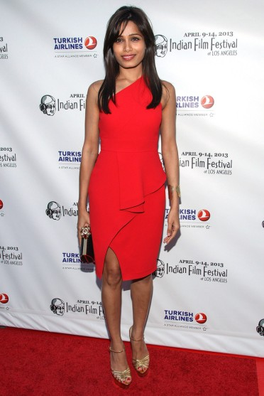 Freida Rachel Roy at the Indian Film Festival in Los Angeles with Thale Blanc clutch