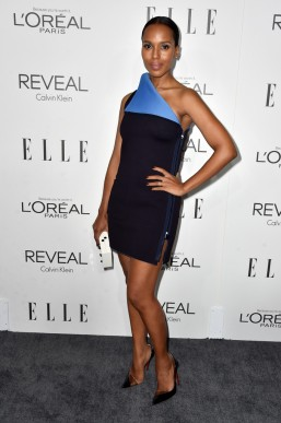 Kerry Washington in Los Angeles with Thale Blanc clutch