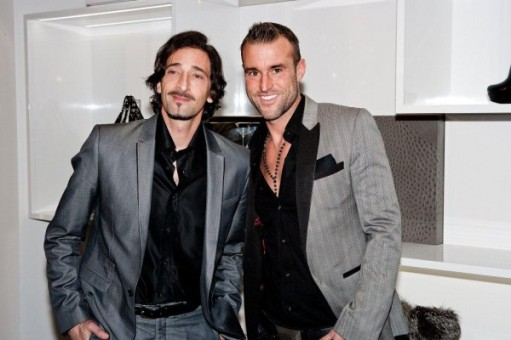 Adrien Brody at the Dusseldorf store opening, with the desginer, dressed in Philipp Plein
