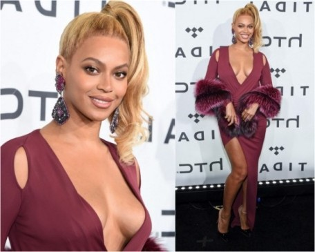 Beyonce Knowles oin the red carpet in Philipp Plein