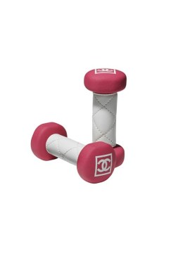 Quilted leather weights in pink by Chanel