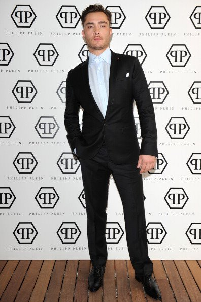 Ed Westwick dressed in Philipp Plein