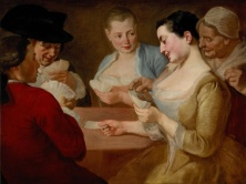 The Card Player Traversi Gaspar Naples, 1722 - Rome, 1770Oil on canvas, 73,5 by 98 cm - 28,9 by 38,6 in