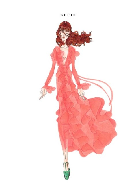 Gucci illustration for Florence Welch for her upcoming How Beautiful Tour