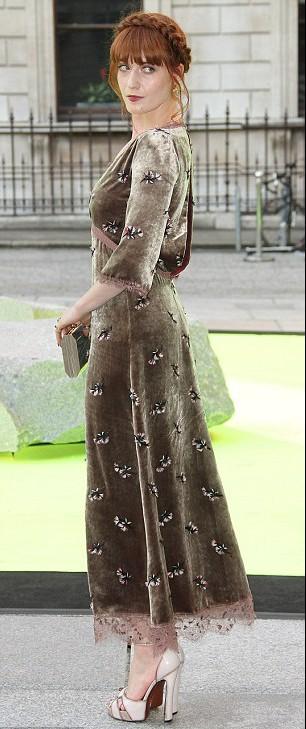 Florence Welch (2013) in a vintage velvet dress in London