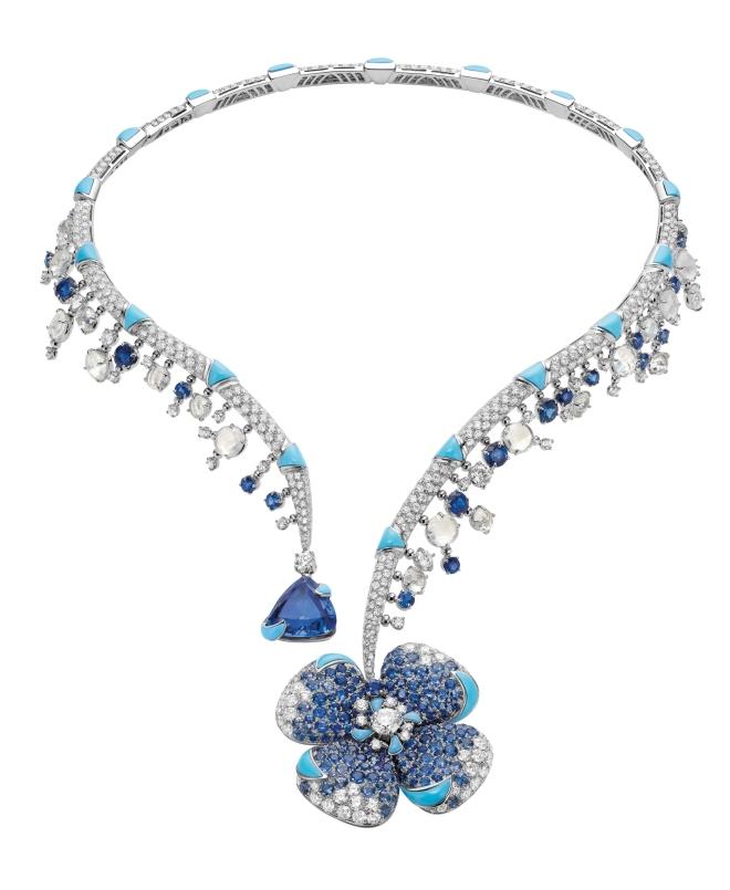 Collana-Bulgari-Fiore-Ingenuo-HJ-in-oro-bianco-con-zaffuri-turchesi-tanzanite-turchesi-di-luna-e-diamanti