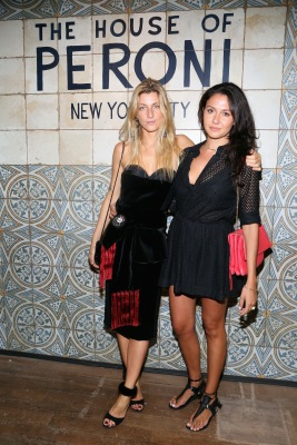 NEW YORK, NY: Victoria Gucci (R) and a guest attend The House of Peroni Opening Night hosted by Francesco Carrozzini in New York City. (Photo by Sylvain Gaboury/Patrick McMullan via Getty Images)