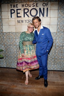 NEW YORK, NY: Catherine Martin (L) and host Francesco Carrozzini attend The House of Peroni Opening Nigh in New York City. (Photo by Sylvain Gaboury/Patrick McMullan via Getty Images)
