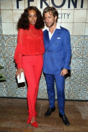 NEW YORK, NY : Solange Knowles (L) and host Francesco Carrozzini attend The House of Peroni Opening Night in New York City. (Photo by Sylvain Gaboury/Patrick McMullan via Getty Images)
