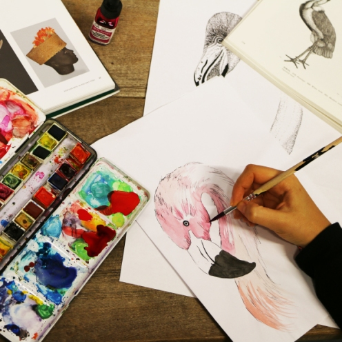 "Matthew Williamson ""Flamingo"" print painted in the studio"