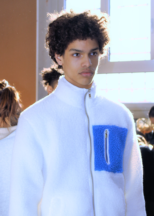 Model backstage at the Wood Wood Fall 2017 menswear show © The Fashion Plate 2017 (photo by Lola Montanaro)