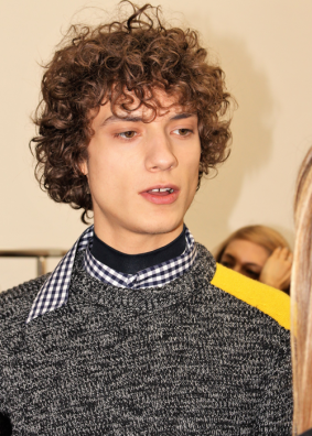 Model backstage at the Cedric Charlier Fall 2017 menswear show © The Fashion Plate 2017 (photo by Lola Montanaro)