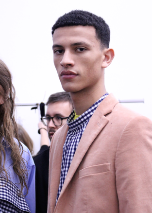 Model backstage at the Cedric Charlier Fall 2017 menswear show ©The Fashion Plate 2017 (photo by Lola Montanaro)