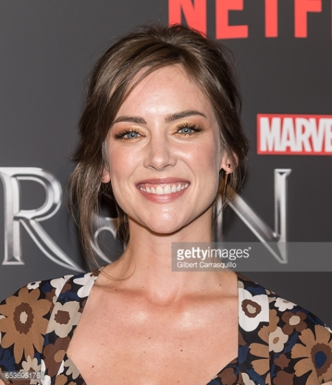 Jessica Stroup at the Iron Fist premiere in the Totem 'Earth' earring collection inspired by the four elements: Air, Water, Fire, and Earth.