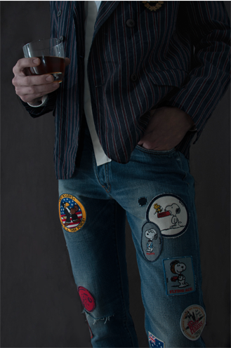 Roman wears Roy Rogers striped jacket Les Hommes classic white shirt Roy Rogers patch work denim Fiorentini+Baker ankle boots in brown (photograph: Alexia Mariani) ©The Fashion Plate Magazine, LLC.