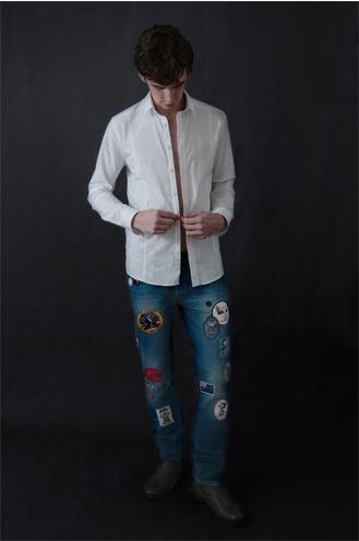 Roman wears Les Hommes classic white shirt Roy Rogers patch work denim (photograph: Alexia Mariani) ©The Fashion Plate Magazine, LLC.