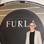 Furla creative director, Fabio Fusi. The Furla Fall/ Winter 2017-18 collection at Milan Fashion Week. Photo: Lola Montanaro, February 2017 ©The Fashion Plate, LLC.