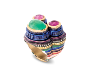Emerald, sapphires, diamonds, and amethysts set in 18ct red gold