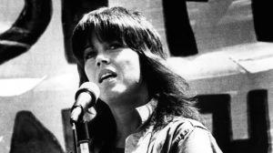 Jane Fonda speaking at an anti war rally in San Francisco, 8/24/72