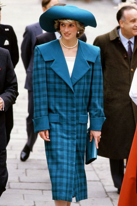 Diana wearing the blue tartan daytime suit by Victor Emanuel for an official visit to Venice in 1980. Credit: Tim Graham/Getty Images
