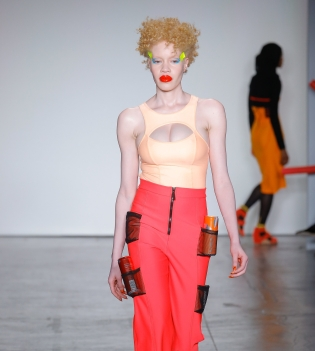 Red lips at Chromat Fall/ Winter 2018-19